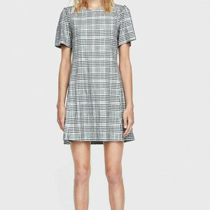 Zara Black and White Plaid Check Mini Dress Sz XL